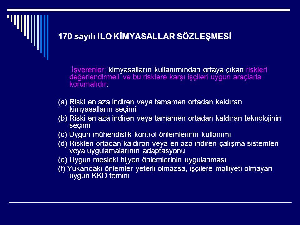 170 sayılı ILO KİMYASALLAR SÖZLEŞMESİ