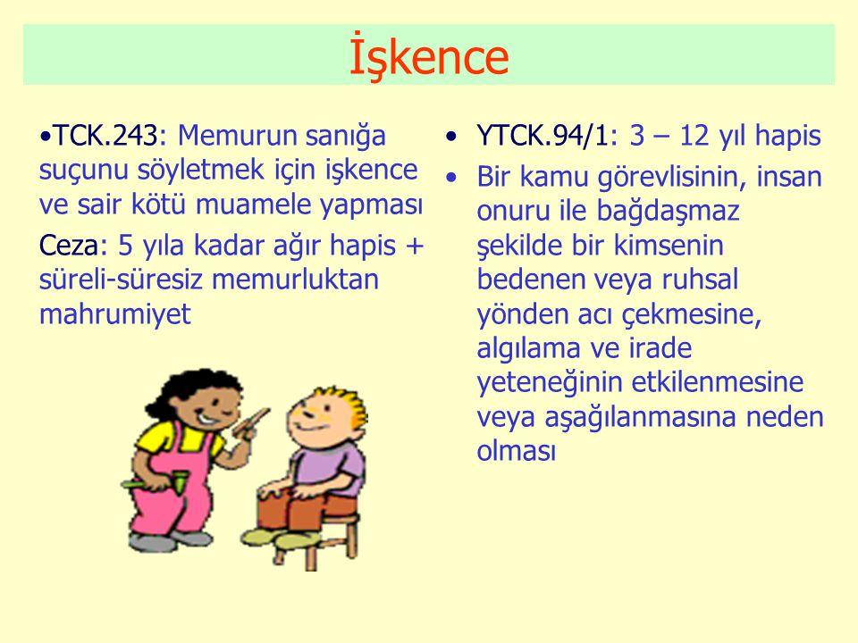 İşkence TCK.243: Memurun sanığa suçunu söyletmek için işkence ve sair kötü muamele yapması.