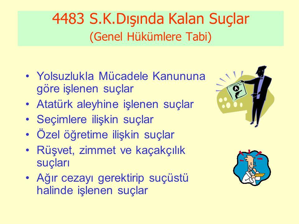 4483 S.K.Dışında Kalan Suçlar (Genel Hükümlere Tabi)