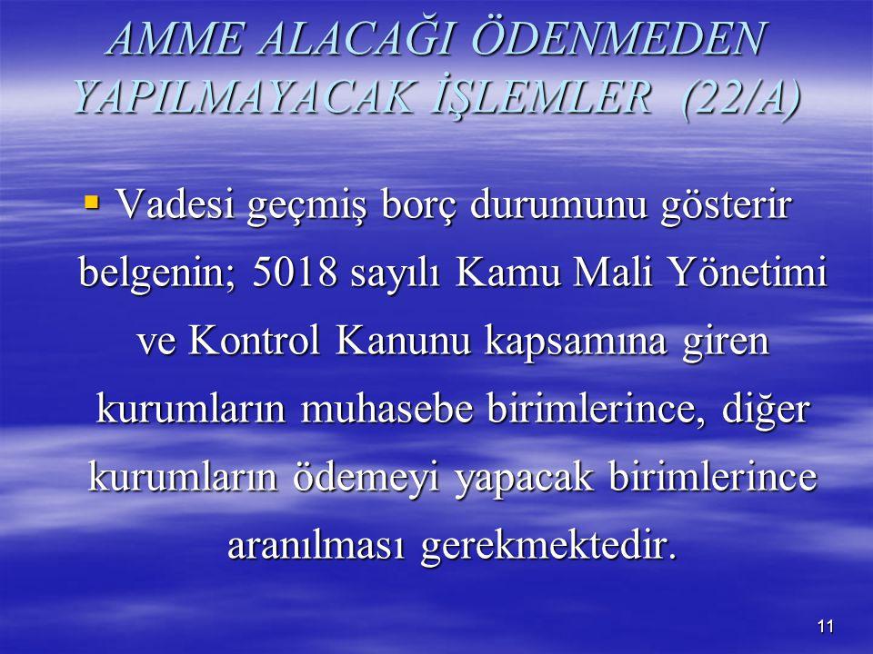 AMME ALACAĞI ÖDENMEDEN YAPILMAYACAK İŞLEMLER (22/A)