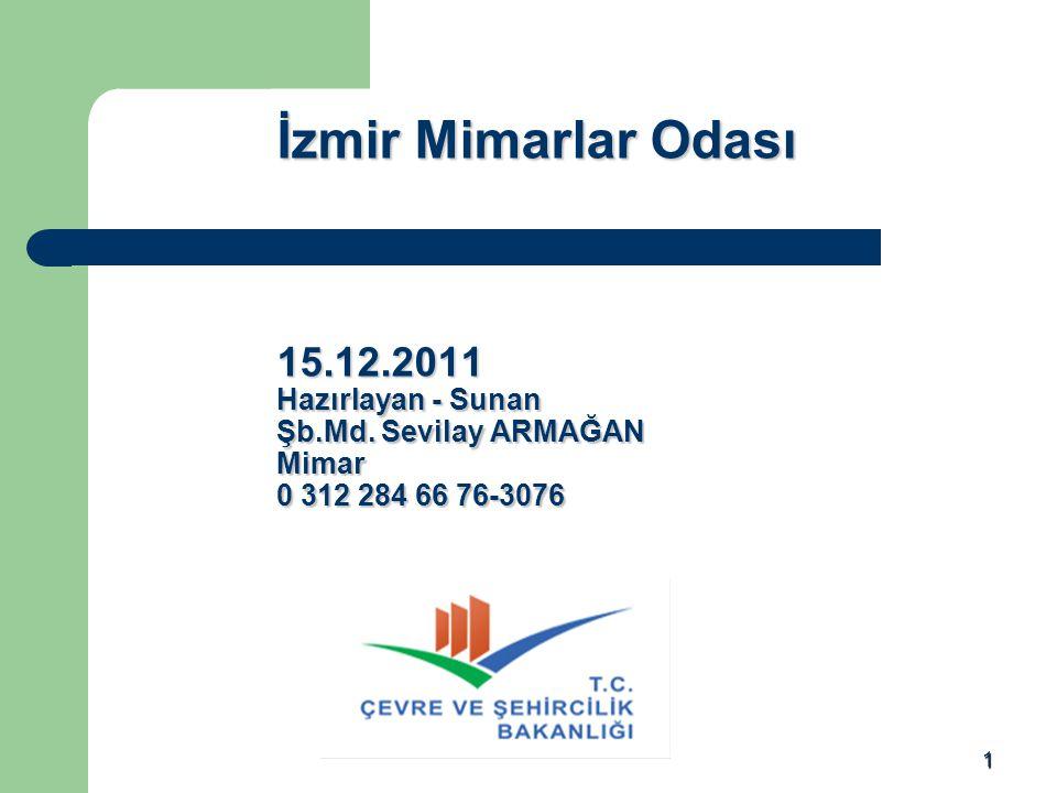 İzmir Mimarlar Odası 15. 12. 2011 Hazırlayan - Sunan Şb. Md