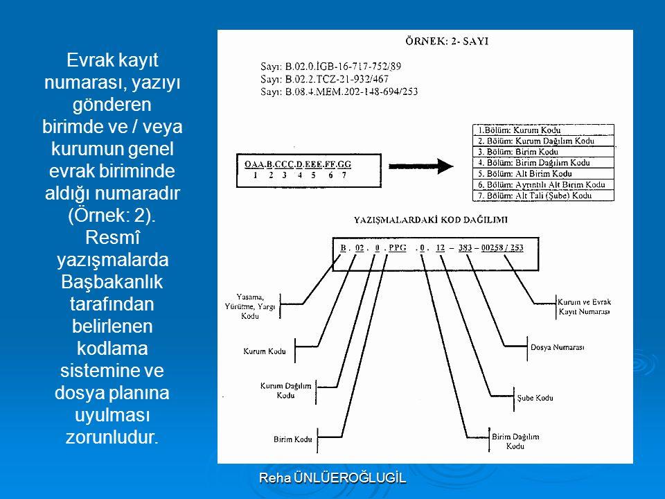 Evrak kayıt numarası, yazıyı gönderen birimde ve / veya kurumun genel evrak biriminde aldığı numaradır (Örnek: 2).