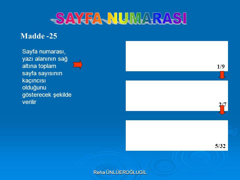 SAYFA NUMARASI Madde -25. Sayfa numarası, yazı alanının sağ altına toplam sayfa sayısının kaçıncısı olduğunu gösterecek şekilde verilir.