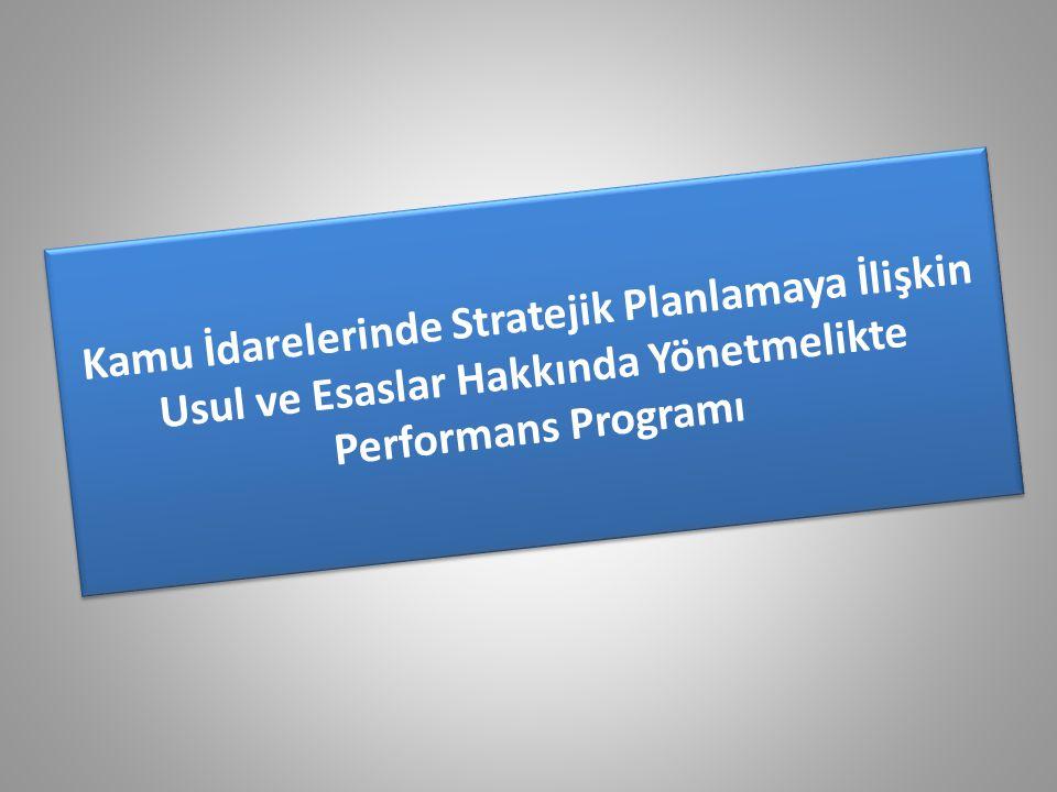 Kamu İdarelerinde Stratejik Planlamaya İlişkin Usul ve Esaslar Hakkında Yönetmelikte Performans Programı