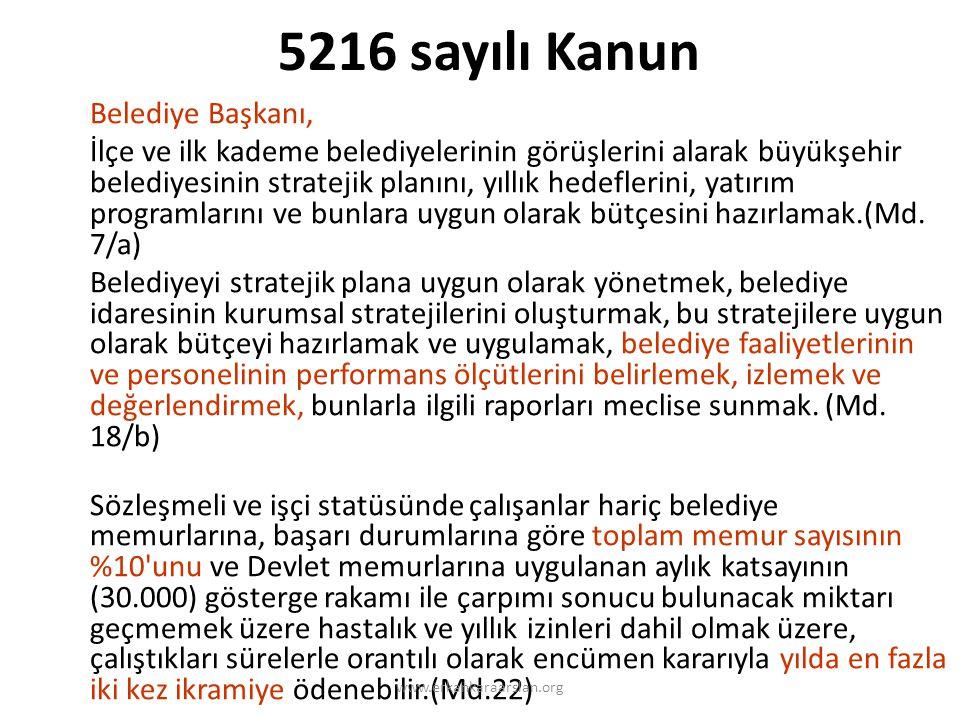 5216 sayılı Kanun Belediye Başkanı,