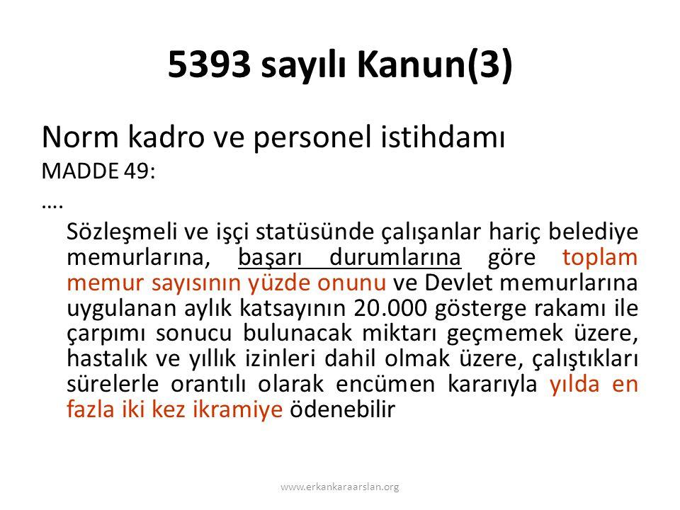 5393 sayılı Kanun(3) Norm kadro ve personel istihdamı MADDE 49: ….