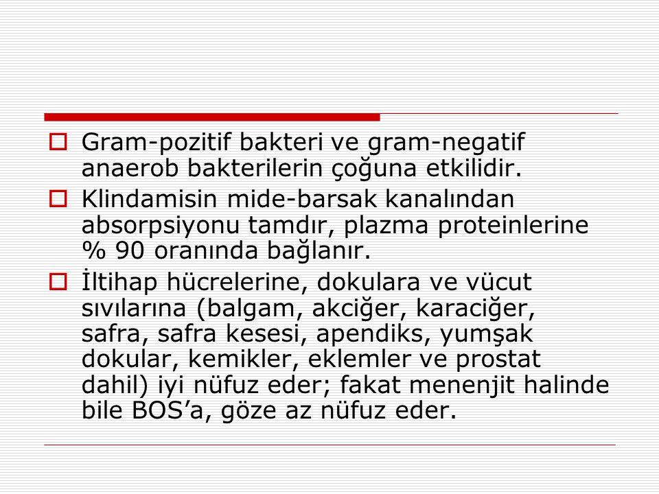 Gram-pozitif bakteri ve gram-negatif anaerob bakterilerin çoğuna etkilidir.