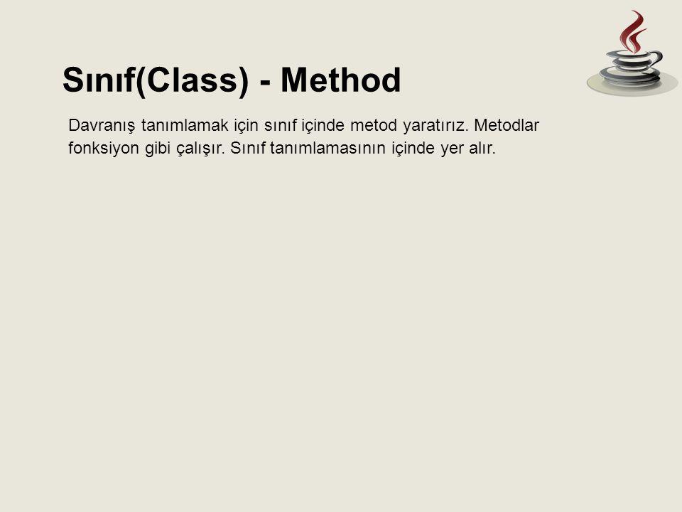 Sınıf(Class) - Method Davranış tanımlamak için sınıf içinde metod yaratırız.
