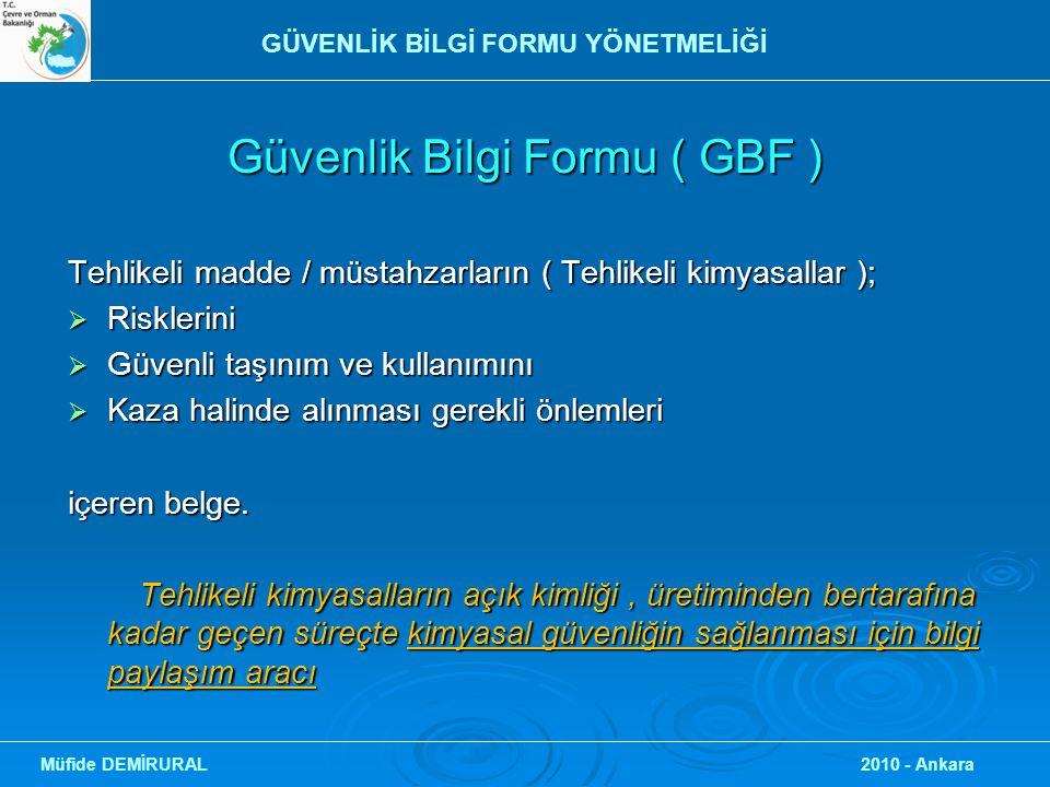 Güvenlik Bilgi Formu ( GBF )