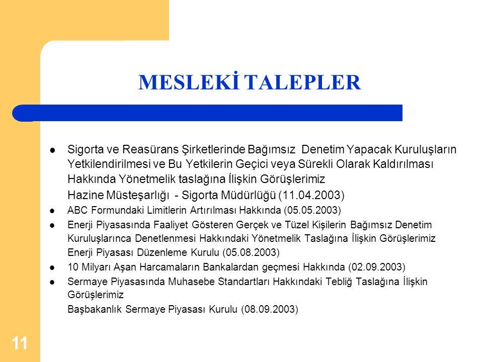 MESLEKİ TALEPLER