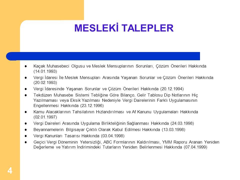 MESLEKİ TALEPLER Kaçak Muhasebeci Olgusu ve Meslek Mensuplarının Sorunları, Çözüm Önerileri Hakkında (14.01.1993)