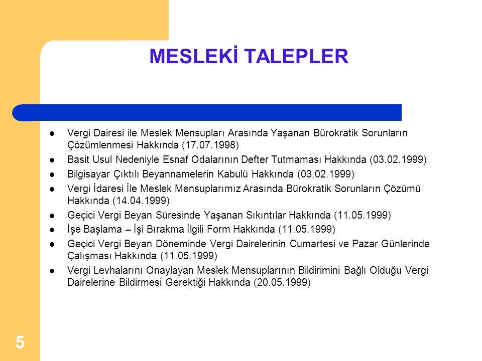 MESLEKİ TALEPLER Vergi Dairesi ile Meslek Mensupları Arasında Yaşanan Bürokratik Sorunların Çözümlenmesi Hakkında (17.07.1998)