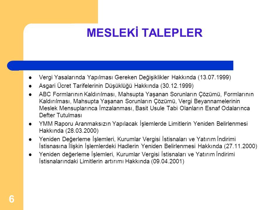 MESLEKİ TALEPLER Vergi Yasalarında Yapılması Gereken Değişiklikler Hakkında (13.07.1999) Asgari Ücret Tarifelerinin Düşüklüğü Hakkında (30.12.1999)