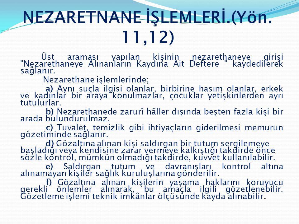 NEZARETNANE İŞLEMLERİ.(Yön. 11,12)