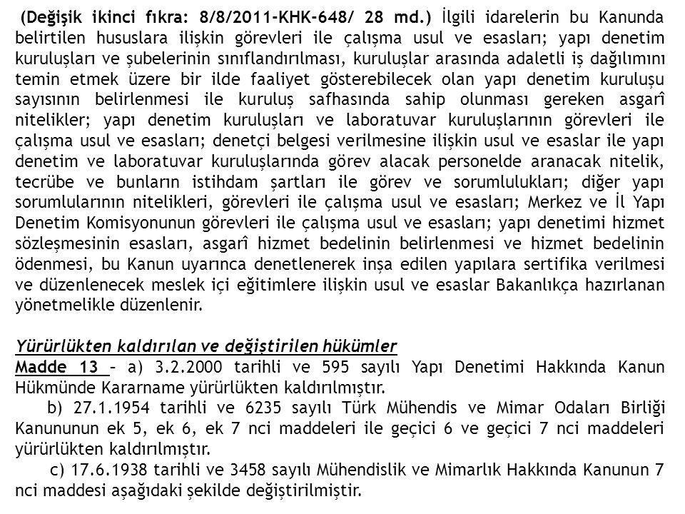 (Değişik ikinci fıkra: 8/8/2011-KHK-648/ 28 md