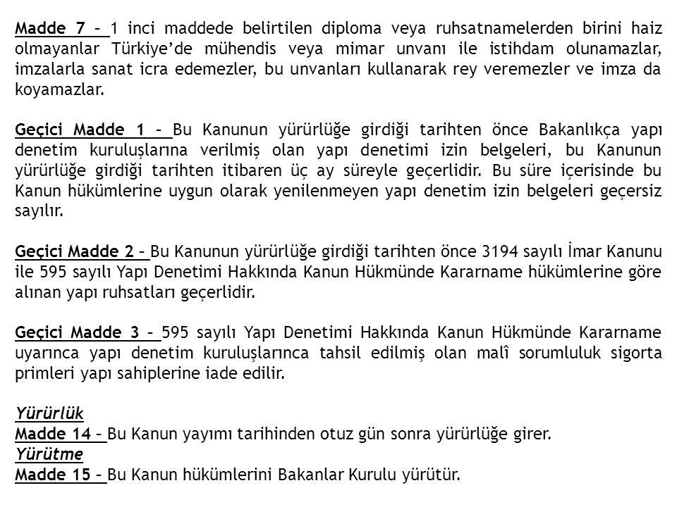 Madde 7 – 1 inci maddede belirtilen diploma veya ruhsatnamelerden birini haiz olmayanlar Türkiye'de mühendis veya mimar unvanı ile istihdam olunamazlar, imzalarla sanat icra edemezler, bu unvanları kullanarak rey veremezler ve imza da koyamazlar.
