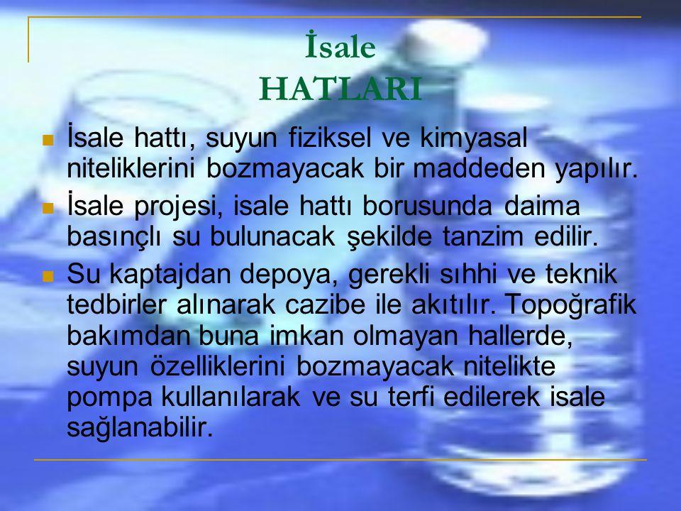İsale HATLARI İsale hattı, suyun fiziksel ve kimyasal niteliklerini bozmayacak bir maddeden yapılır.