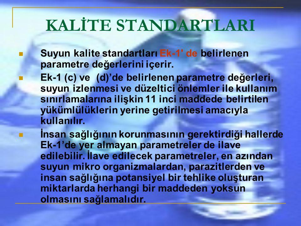 KALİTE STANDARTLARI Suyun kalite standartları Ek-1 de belirlenen parametre değerlerini içerir.