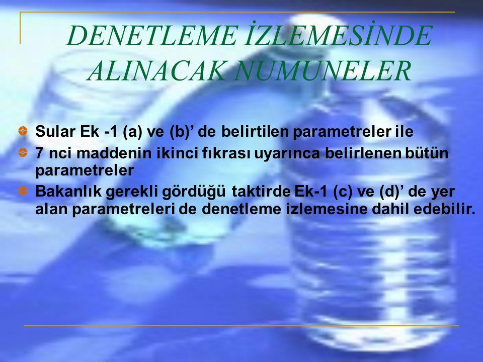 DENETLEME İZLEMESİNDE ALINACAK NUMUNELER