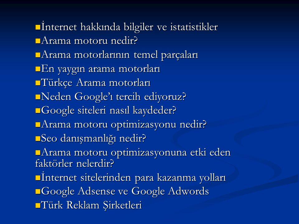 İnternet hakkında bilgiler ve istatistikler