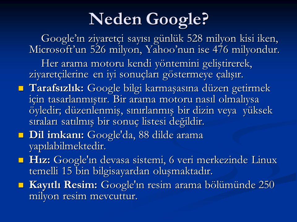 Neden Google Google'ın ziyaretçi sayısı günlük 528 milyon kisi iken, Microsoft'un 526 milyon, Yahoo'nun ise 476 milyondur.