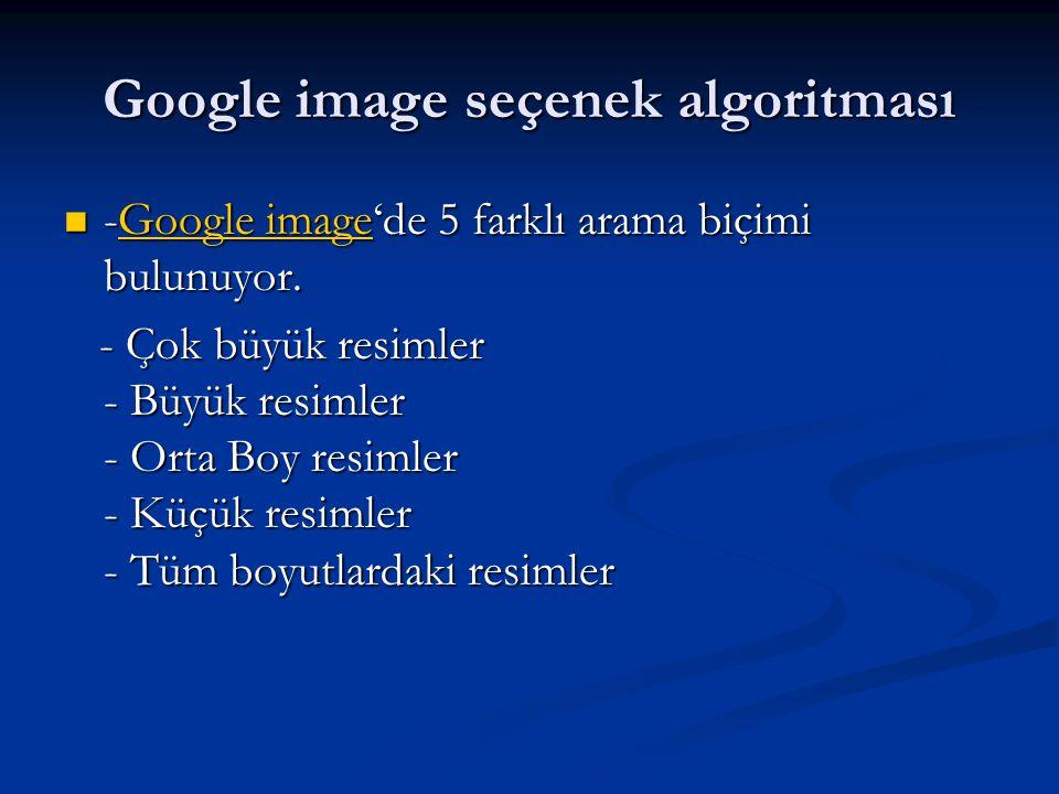 Google image seçenek algoritması