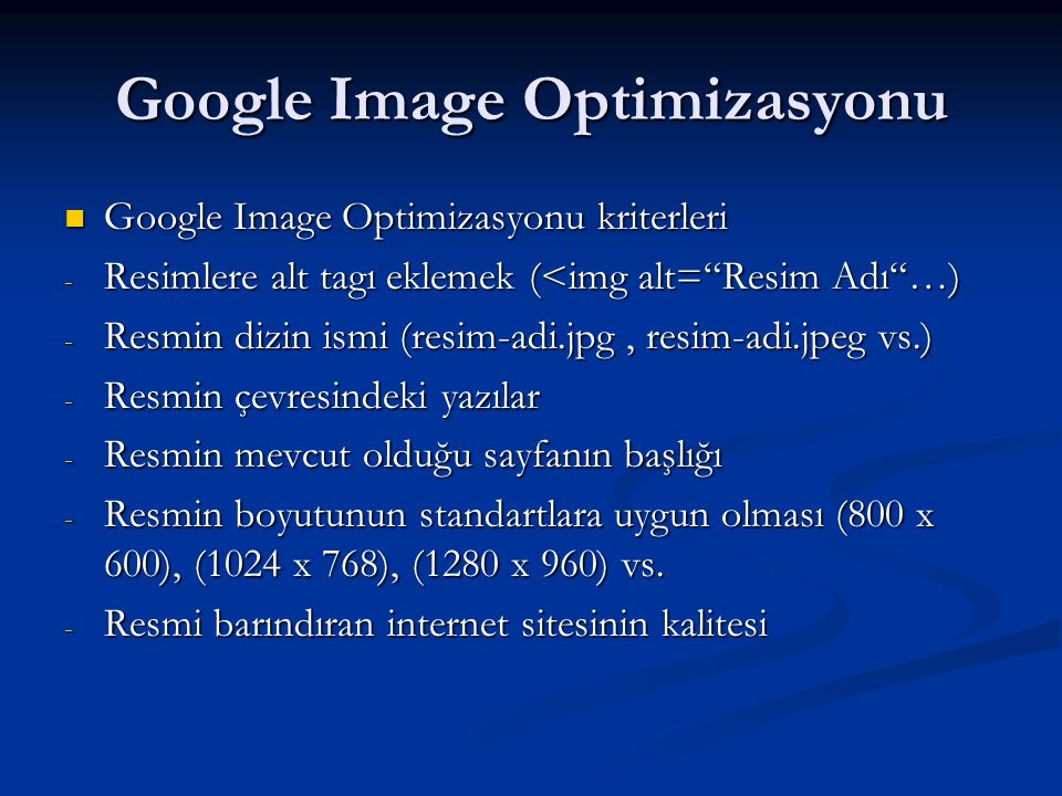 Google Image Optimizasyonu