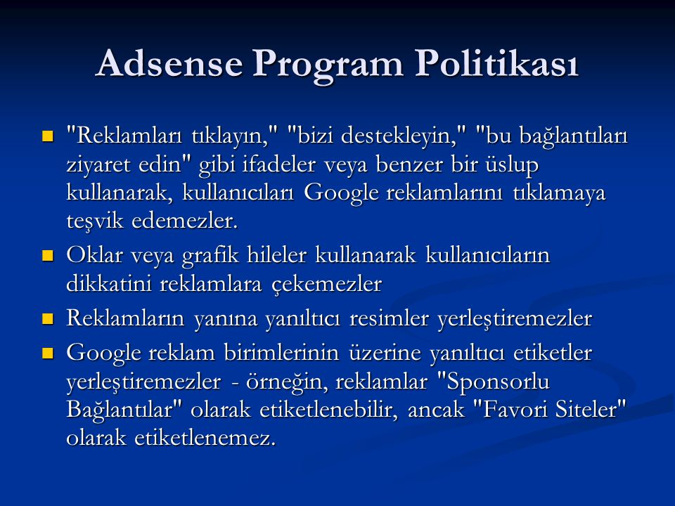 Adsense Program Politikası