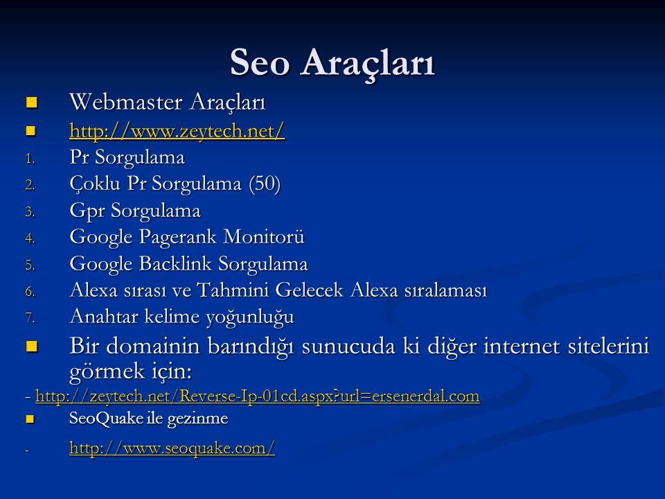 Seo Araçları Webmaster Araçları