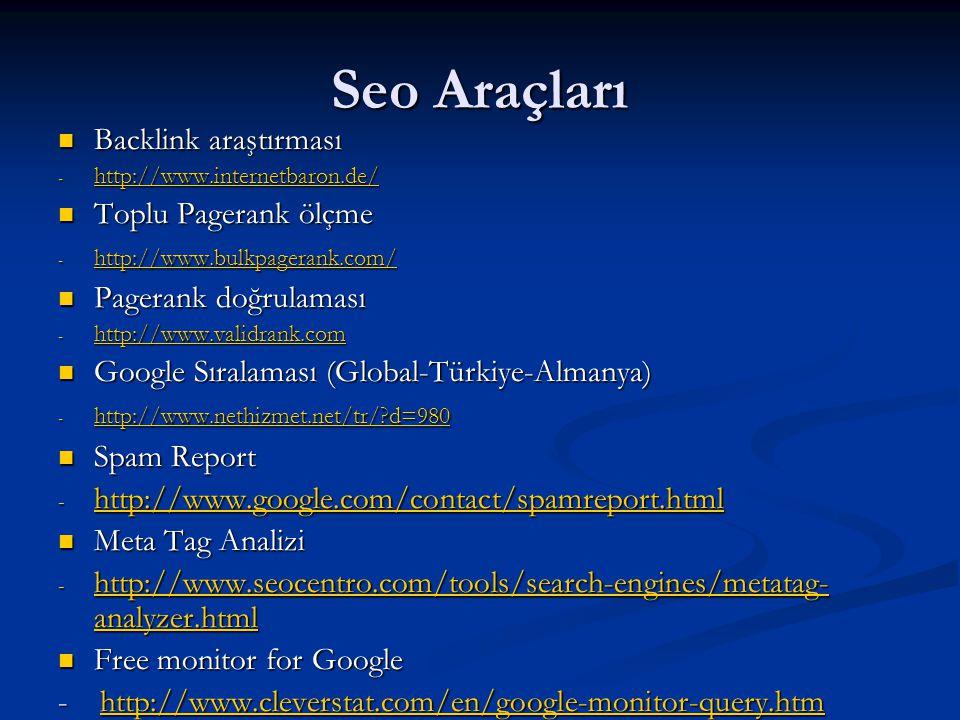 Seo Araçları Backlink araştırması Toplu Pagerank ölçme