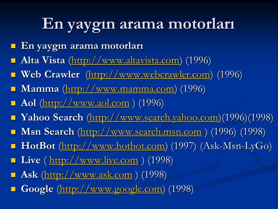 En yaygın arama motorları
