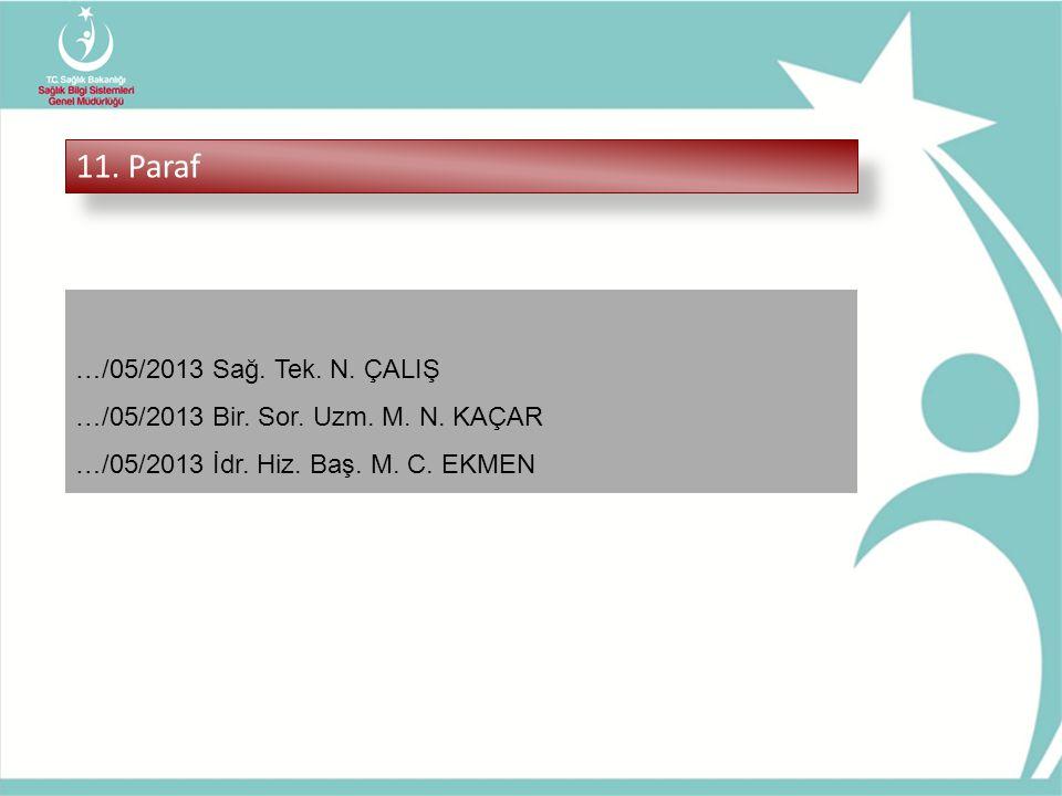 11. Paraf …/05/2013 Sağ. Tek. N. ÇALIŞ