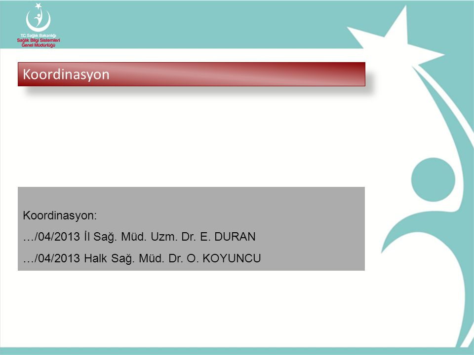 Koordinasyon Koordinasyon: …/04/2013 İl Sağ. Müd. Uzm. Dr. E. DURAN