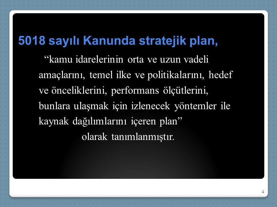 5018 sayılı Kanunda stratejik plan,