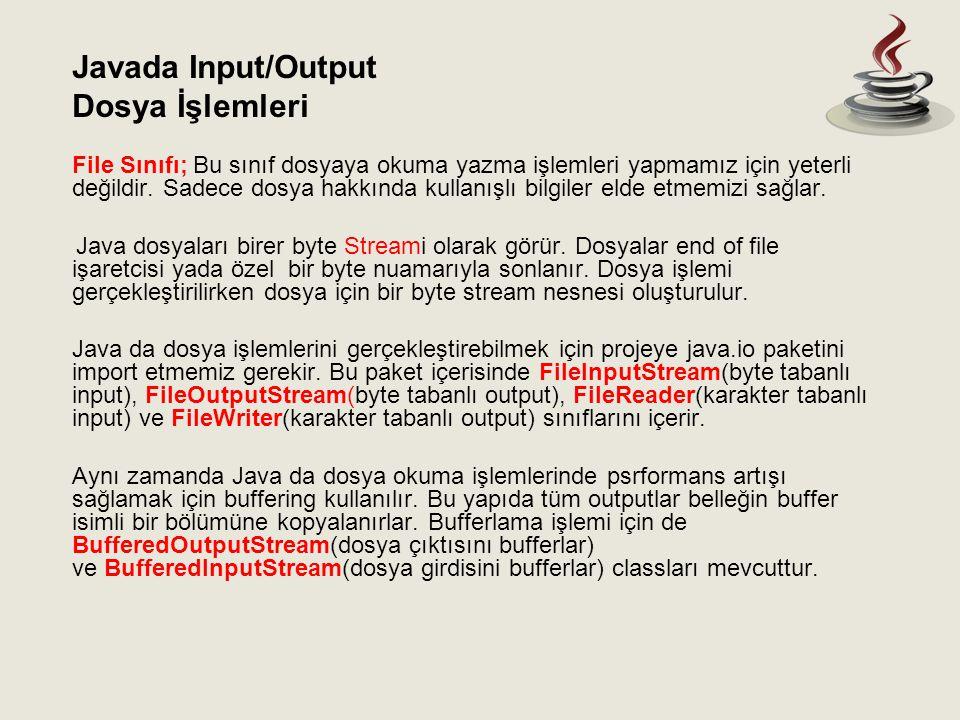Javada Input/Output Dosya İşlemleri.