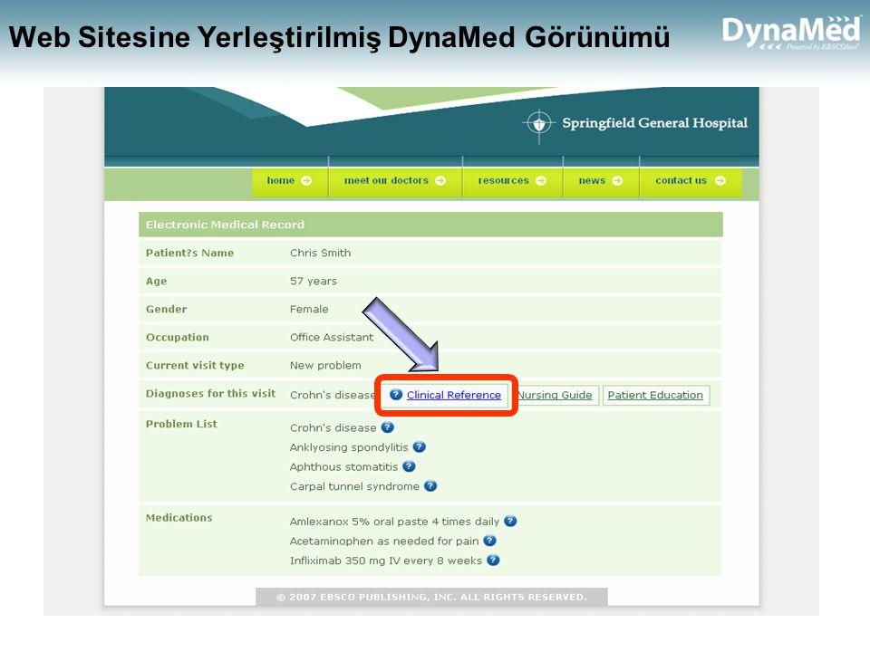 Web Sitesine Yerleştirilmiş DynaMed Görünümü