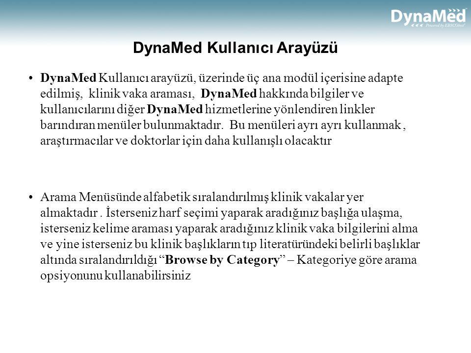 DynaMed Kullanıcı Arayüzü