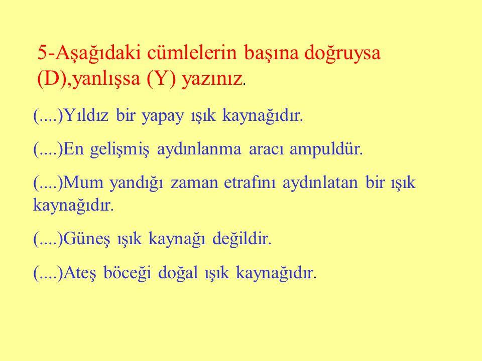 5-Aşağıdaki cümlelerin başına doğruysa (D),yanlışsa (Y) yazınız.