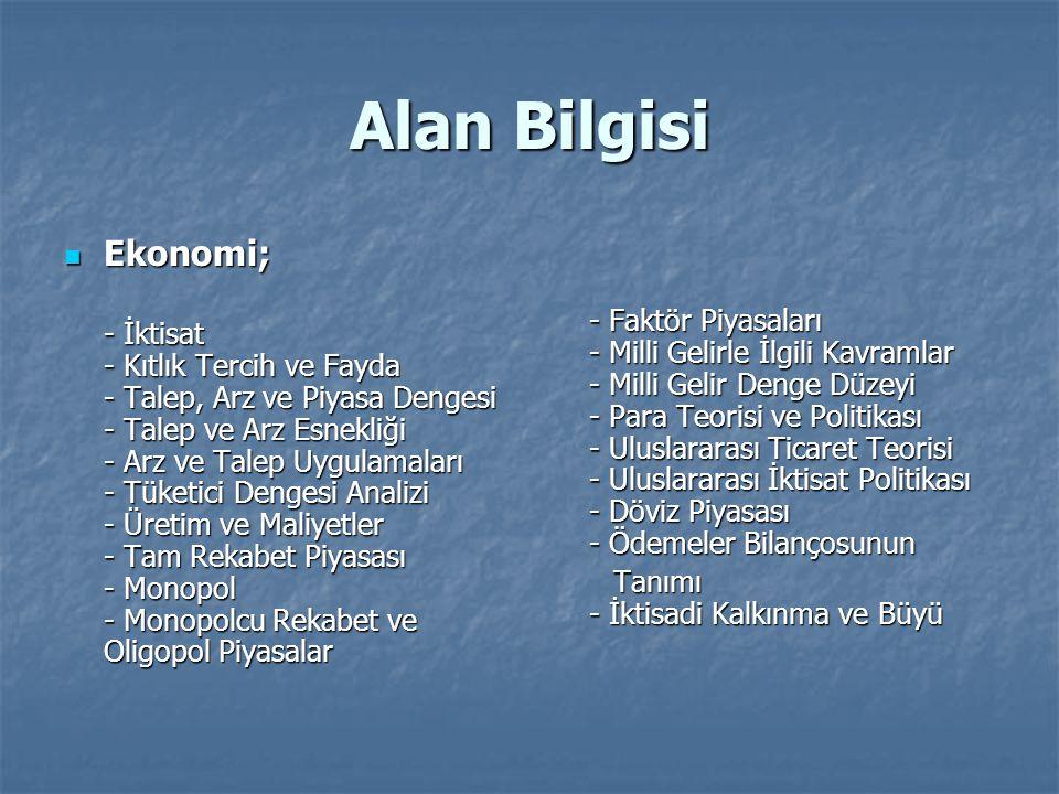 Alan Bilgisi Ekonomi;