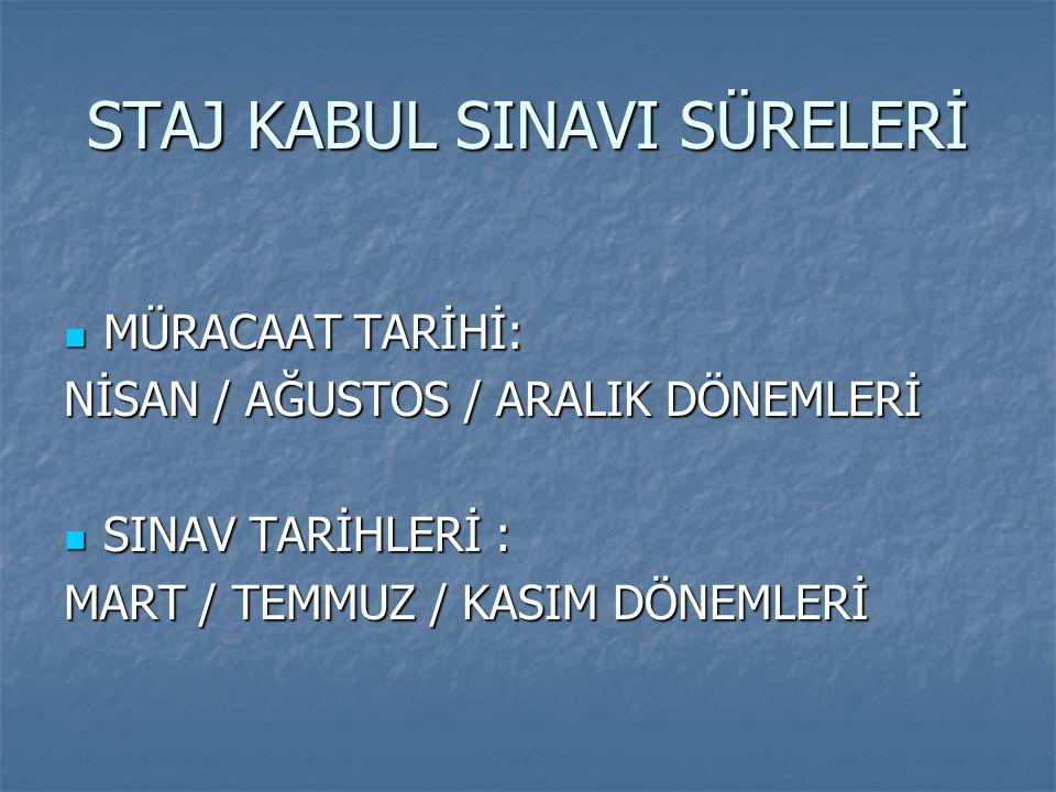 STAJ KABUL SINAVI SÜRELERİ