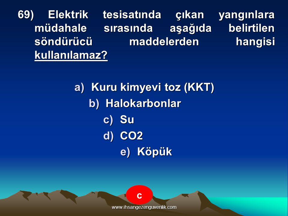 Kuru kimyevi toz (KKT) Halokarbonlar Su CO2 Köpük