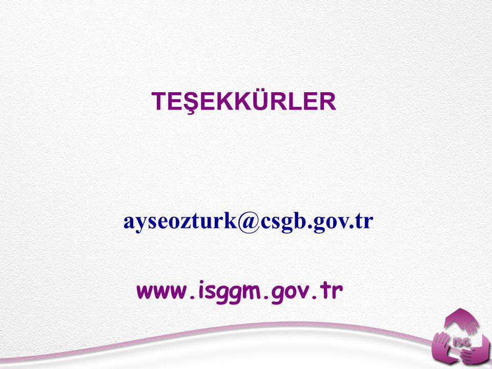 TEŞEKKÜRLER ayseozturk@csgb.gov.tr www.isggm.gov.tr