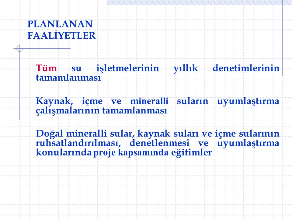 PLANLANAN FAALİYETLER