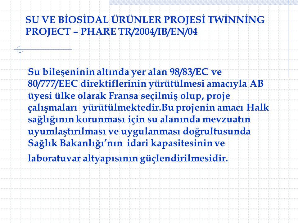 SU VE BİOSİDAL ÜRÜNLER PROJESİ TWİNNİNG PROJECT – PHARE TR/2004/IB/EN/04