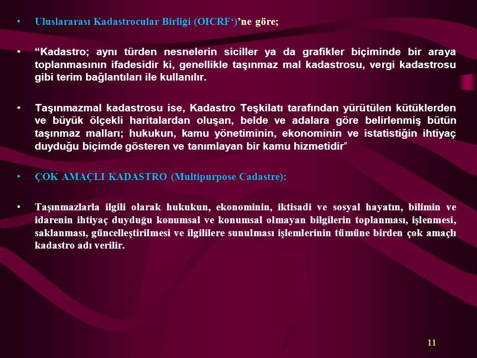 Uluslararası Kadastrocular Birliği (OICRF')'ne göre;