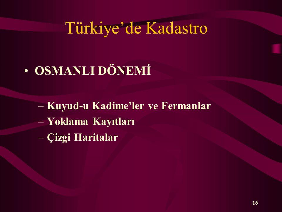 Türkiye'de Kadastro OSMANLI DÖNEMİ Kuyud-u Kadime'ler ve Fermanlar