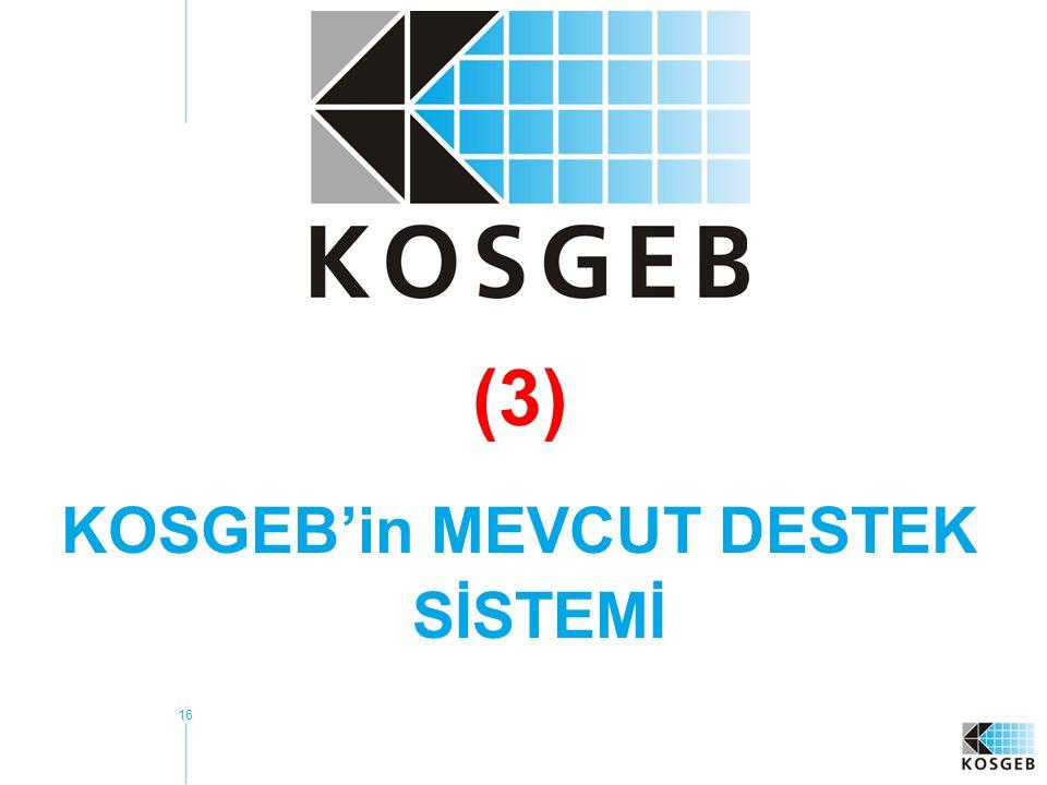 KOSGEB'in MEVCUT DESTEK SİSTEMİ