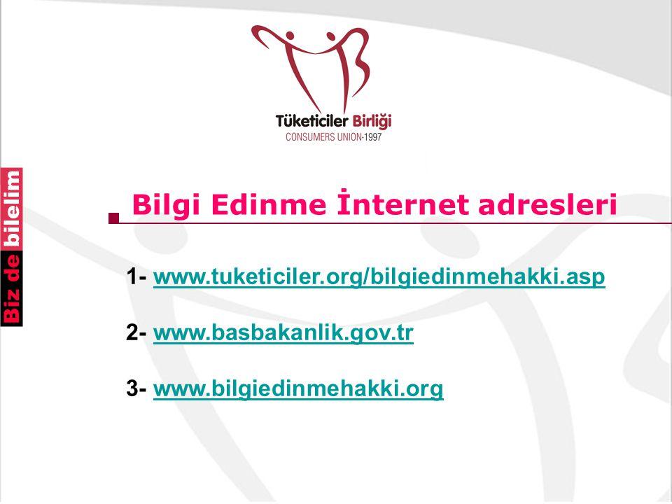 Bilgi Edinme İnternet adresleri