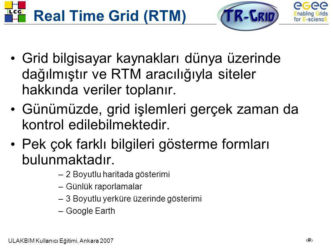 Real Time Grid (RTM) Grid bilgisayar kaynakları dünya üzerinde dağılmıştır ve RTM aracılığıyla siteler hakkında veriler toplanır.