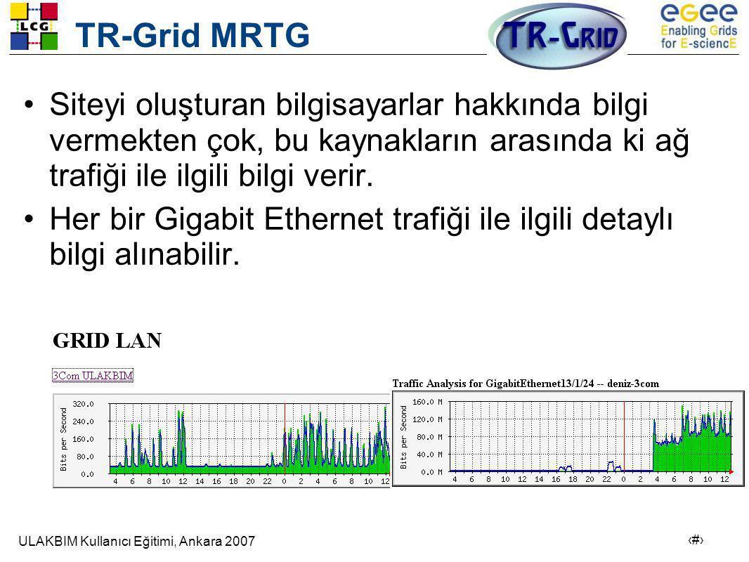 TR-Grid MRTG Siteyi oluşturan bilgisayarlar hakkında bilgi vermekten çok, bu kaynakların arasında ki ağ trafiği ile ilgili bilgi verir.
